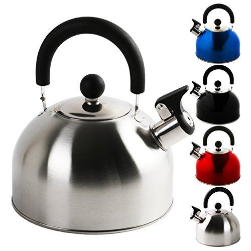 Krollmann 2,5 Liter Edelstahl Flötenkessel Teekessel Wasserkocher Pfeifkessel (Silber 2,5 Liter)