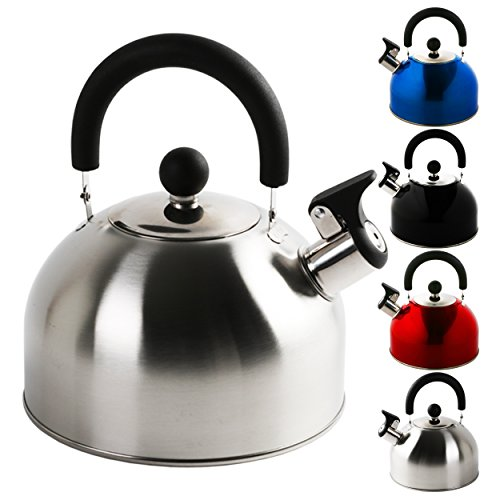 Hervidor de silbato en distintos colores, marca Krollmann, 2,5 litros, acero inoxidable, hervidor de té, hervidor de agua, hervidor de agua de silbato, acero inoxidable, plata, 2,5 Litros