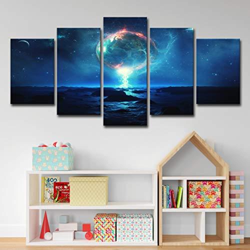 upnanren Earth Star Night Painting Kosmische Planetenwand 50CM Home Wohnzimmer Dekorative Malerei 5 Panel (mit Rahmen) kann direkt aufgehängt Werden