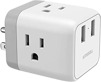TESSAN Travel Power Strip Extension with 2 USB Wall Charger