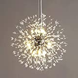 Lampadario di cristallo moderno, lampadario pirotecnico di tarassaco, lampadario decorativo per soggiorno, sala da pranzo, camera da letto, cucina (argento, 8)