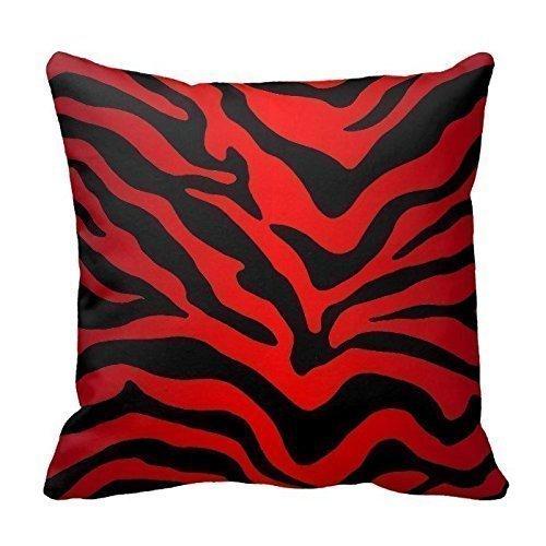 Funda de cojín cuadrada de 40,6 x 40,6 cm con estampado de cebra, diseño de rayas, color rojo y negro
