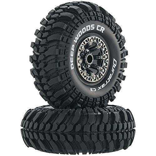 """Duratrax Deep Woods RC Rock Crawler Tires with Foam Inserts, C3 Super Soft Compound, High Traction, 2.2"""", Black Chrome (Set of 2)"""