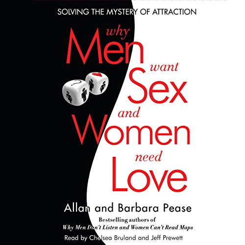 Why Men Want Sex and Women Need Love     Solving the Mystery of Attraction              By:                                                                                                                                 Allan Pease,                                                                                        Barbara Pease                               Narrated by:                                                                                                                                 Chelsea Bruland,                                                                                        Jeff Prewett                      Length: 8 hrs and 22 mins     95 ratings     Overall 4.2