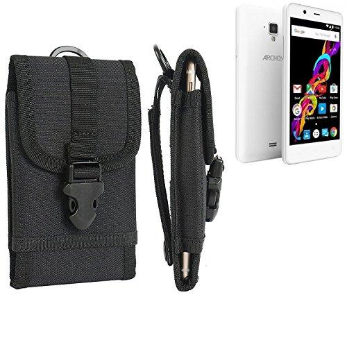 K-S-Trade® Handyhülle Für Archos 50 Titanium 4G Gürteltasche Handytasche Gürtel Tasche Schutzhülle Robuste Handy Schutz Hülle Tasche Outdoor Schwarz
