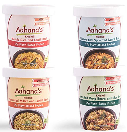 Aahana's Vegan Lentil and Rice Bowls - Gluten Free, Vegan Food, 15g of Plant-Based High Protein Meals, Ready-to-Eat - Masala Basmati Rice, Quinoa, Mung Beans, Millet (Variety Pack, 2.3 Oz Pack Of 8)