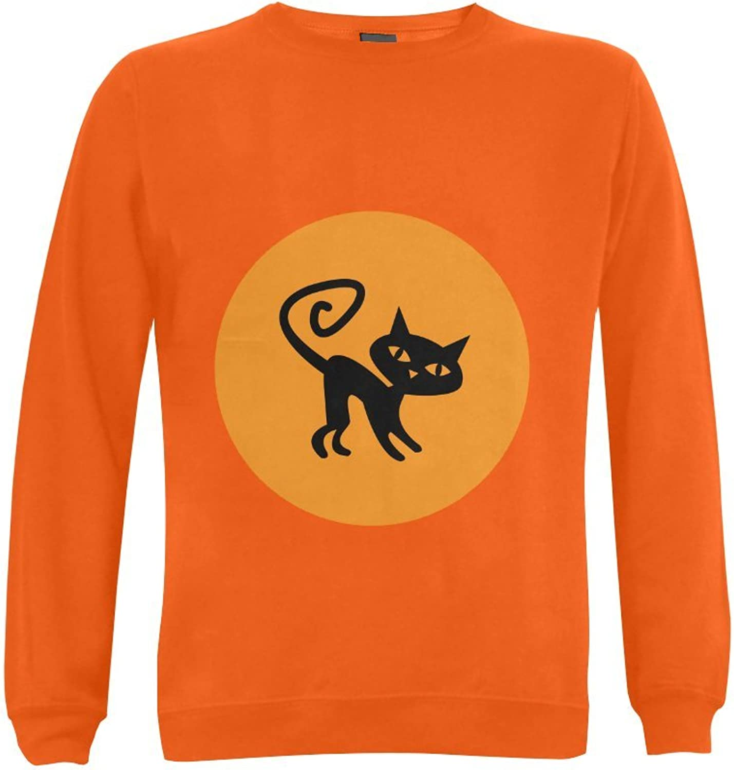 CERLYRUAN Halloween Moon Cat 50% Cotton 50% PolyesterPreshrunk Crewneck Men's Sweatshirt
