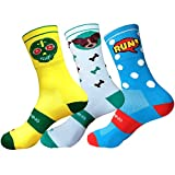HOOPOE Pack Calcetines Running Divertidos, Half Cut 3 Pares, Hombres, Mujer, sin Costuras, Térmicos, Skully, Doggy, Comic, Talla 36-40
