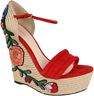 Women's Red Suede Embroidered Suede Platform Espadrille Wedge 454303 6433 (39.5 G / 9.5 US)