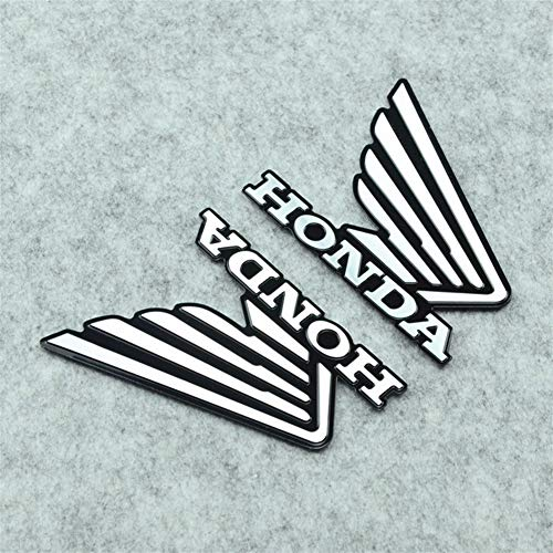 1 Paar Roller-Fahrrad-Motorrad-Aufkleber Fuel Tank Seitenflügel Emblem Badge Aluminum Aufkleber for Honda CB CBF CBR 600 650 1000 (Color : Silver)