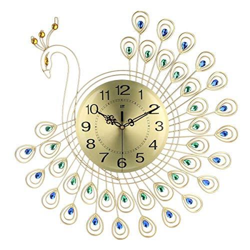 Flying elf grote DIY wandsticker klok 3D goud diamant pauw wandklok metalen klok voor thuis woonkamer decoratie handwerk ornamenten 53x53 cm 53 * 53cm