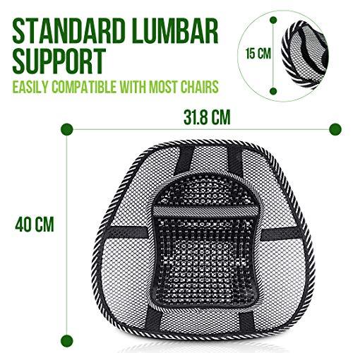RenFox Cojín Lumbar Soporte para la Espalda Lumbar Soporte para Silla de Oficina Coche corrije la Postura Alivia el Dolor Lumbar (Black 2)