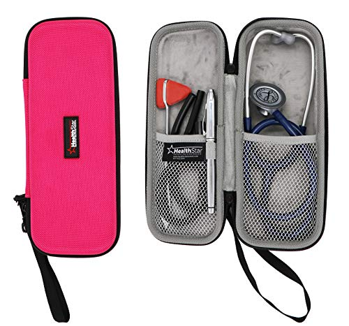 Healthstar Stethoscope Case - Hard Protective Carry Cover with Handle - Doctor and Nurse Accessories (Pink)