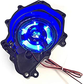 HTTMT MT056A-D Blue LED Stator Engine Cover See Through Compatible with Yamaha 06 YZF-R6S/03-06 YZF-R6 Black