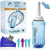 Nasendusche Set 300ml YogaMedic® - 30x Nasenspülsalz 100% aus Deutschland - 4 Aufsätze zur effektiven Nasenreinigung - bei Erkältung Schnupfen Allergie Trockene Nase