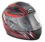New Stealth Motorcycle Helmet Hd127 Kids Full Face Red Razor Flat Black