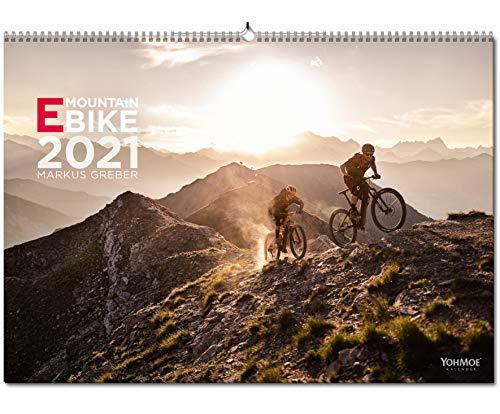 Yohmoe® E-Mountainbike Kalender 2021 by Markus Greber im großen Panorama-Format (59.4x42.0 cm). E-Bike Kalender 2021. E-Bike 2021. EMTB Wandkalender.