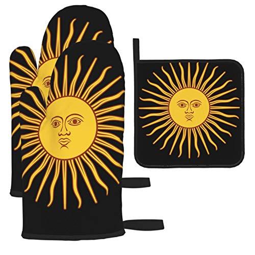 Hangdachang Flagge von Argentinien Sun of May Ofenhandschuhe Mikrowellenhandschuhe Topflappen setzt hitzebeständige Kombination, Grill, Grillen