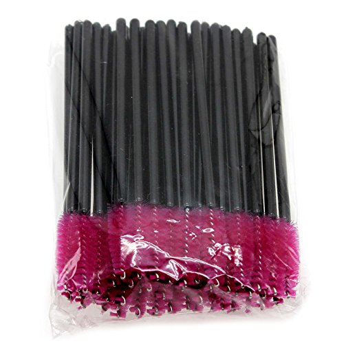 VANKER 50pcs/paquet Jetable Mascara Brosse Cils Extension Outil de Maquillage Rose Rouge