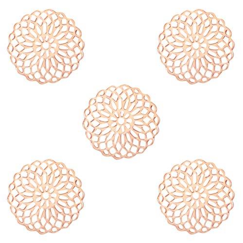 Sadingo Metall Schmuckverbinder Mandala (5 STK.), Anhänger Roségold dünn und leicht, 15 mm, Schmuck basteln, DIY Armband Ohrringe