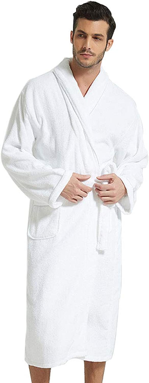 Hotel Bathrobes, Men's and Women's Comfort, Water Absorption Cotton Toweling Robe Belt 2 Pockets