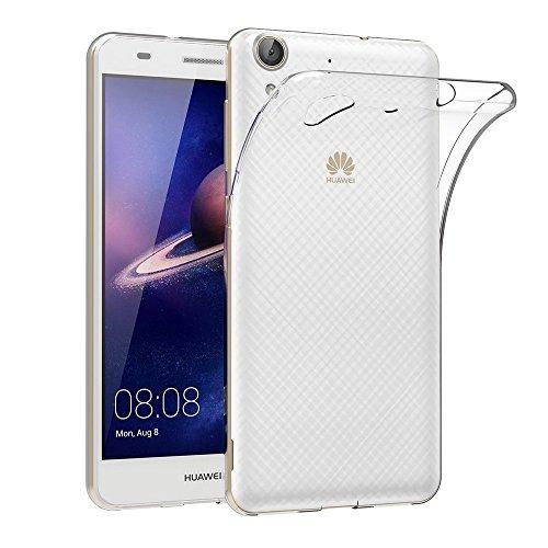 REY Funda Carcasa Gel Transparente para Huawei Y6 II / / Huawei Honor 5A, Ultra Fina 0,33mm, Silicona TPU de Alta Resistencia y Flexibilidad