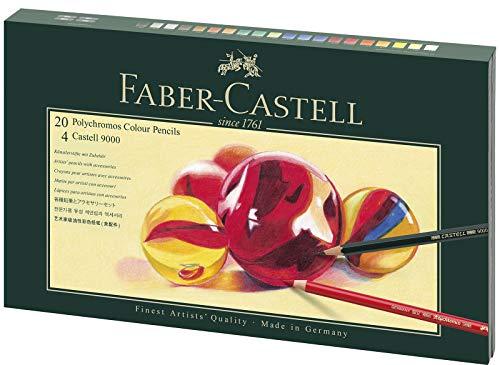 Faber-Castell 210051 Geschenkset Mixed Media Polychromos, 20 Stifte mit Zubehör, bunt