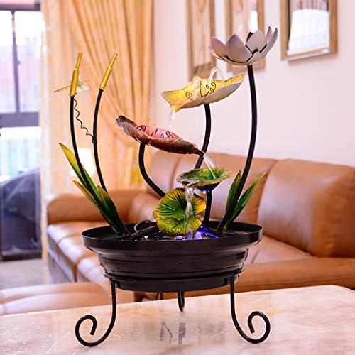 Fuente de Agua Eléctrica de Escritorio Hierro fuente de escritorio cubierta de flores en cascada Cascada Decoración fuente con agua humidificador de vapor en la sala de estar Crafts Oficina de escrito