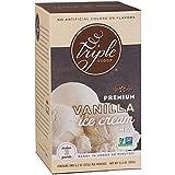 Triple Scoop Ice Cream Mix, Premium Vanilla, starter for use with home ice cream maker, non-gmo, no artificial colors or flavors, ready in under 30 mins, makes 2 qts (1 15oz box)