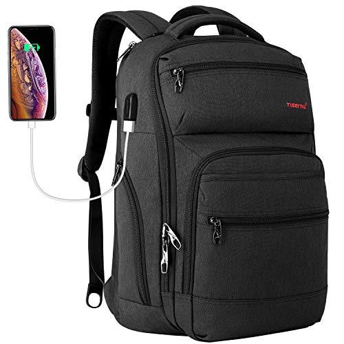 Tigernu Travel Laptop Backpack Business Anti Theft Slim Backpacks with USB Charging Port Water Resistant Bookbag for Women & Men Fits 15.6 Inch Laptop(Black)