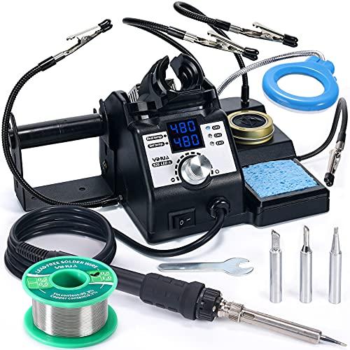 YIHUA 926LED-IV Station de soudage 110 W 90~480 °C Kit de soudure avec 4 mains aidantes, 1 loupe avec LED, distributeur de fil à souder, 3 pannes supplémentaires, 50 g de fil à souder sans plomb