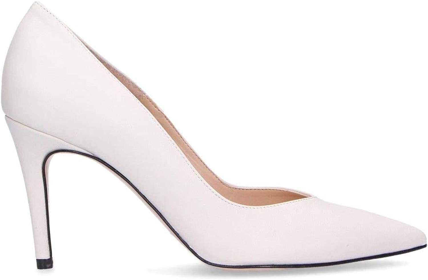 DI LUNA Women's C1091BWHITE Beige Leather Pumps