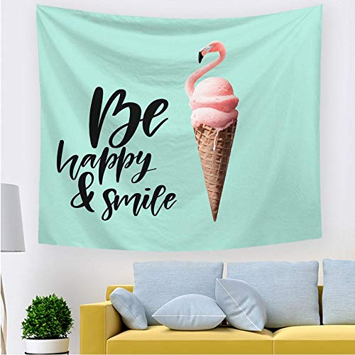 Wandteppich Wall Hanging Wandtuch Tapisserie Wandbehang Cartoon Tier Hängendes Tuch Schlafsaalumbau Hellgrünes Flamingo EIS 150 * 200cm Tapestry Für Wohnzimmer Schlafzimmer