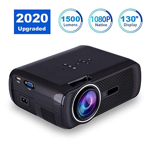 VBESTLIFE Mini Projector LED Home Theater 1080p Full HD HDMI Bluetooth WiFi LED Projector Video Media Player, zwart.