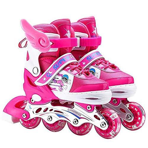 Ice-Beauty-ukzy Rollschuhe für Kinder, Rollschuhe für Kinder und Jugendliche, verstellbare Beleuchtung, Inlineskates mit leuchtenden Rädern, für Anfänger, Pink Full Flash Skates, M (33 ~ 37)