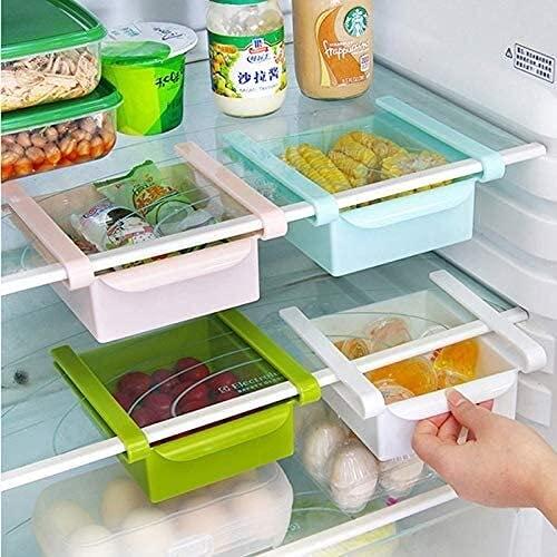 Organizador de 4 colores deslizantes para cocina, nevera, congelador, ahorro de espacio, estante de almacenamiento, cajón (color verde)