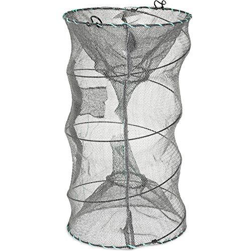 RUNACC Folded Fishing Net Trap, Portable Zipper Bait for Shrimp Carp Crayfish Crab Baits Cast Mesh Trap, 23.6 x11.8 inches (13' x 7.1')