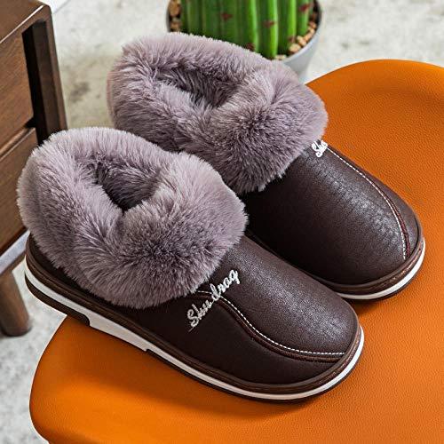 Forro De Felpa Interior Antideslizante Pantuflas,Zapatillas antideslizantes impermeables, bolso calentito y de terciopelo y zapatillas de algodón-Marrón_42-43,Antideslizantes CáLido Zapatos Memory