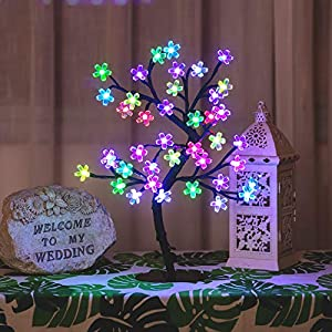 "Bolylight LED Cherry Blossom Tree Lights Table Lamp 16.73"" 40L Centerpiece & Indoor and Outdoor Artificial Decoration Lighted Tree for Bedroom/Party/Wedding/Office/Home"