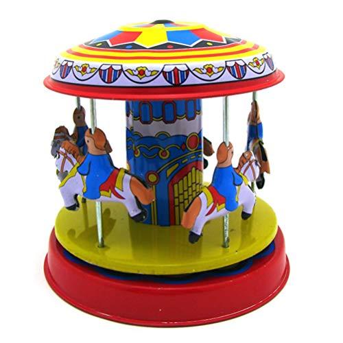 Toyvian Juguetes para Niños Reloj Vintage Cuerda Cuerda Vintage Carrusel Coleccionable Juguete de Hojalata Decoración del Hogar Adornos Regalos