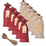 Viudecce Bolsas de Vino de Arpillera 20 Piezas Bolsas de Botellas de Vino Bolsas de Regalo de Vino con Etiquetas y Cuerdas Cubiertas de Botellas de Vino para Bodas