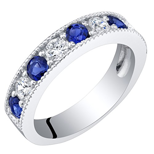 Sterling Silver Created Blue Sapphire Milgrain Half Eternity Ring Band Size 9