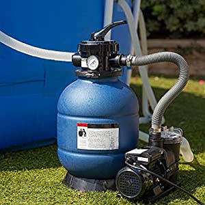 💦Sizable Capacity - This sand filter pump is housed in a one-piece 13-inch tank with a capacity of 42 pounds of sand that can filter above ground pools up to 10,000 gallons 💦Simple and Easy to Use - 4-way valve, 3-prong plug w/ electric cable, portab...