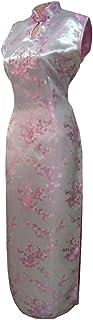 7Fairy Women's Sexy Pink Keyhole Floral Long Chinese Dress Cheongsam