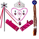 Liisea Princess Dress Up Accessories Gift Jewelry Set for Girls Crowns, Necklaces, Wands, Bracelets Rose Red Party 10pcs