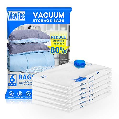 WayEee Vakuumbeutel für bettdecken 6 Stück (100 cm*80 cm) Aufbewahrungsbeutel vakuumier Beutel Kleidung Decke Sparen Sie 80% Speicherplatz zum Schüler oder zur Familie