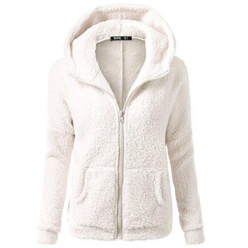 iHENGH Damen Winter Jacke Dicker Warm Bequem Slim Parka Mantel Lässig Mode Frauen Mit Kapuze Pullover Wolle Reißverschluss Baumwollmantel Outwear(Weiß, L)