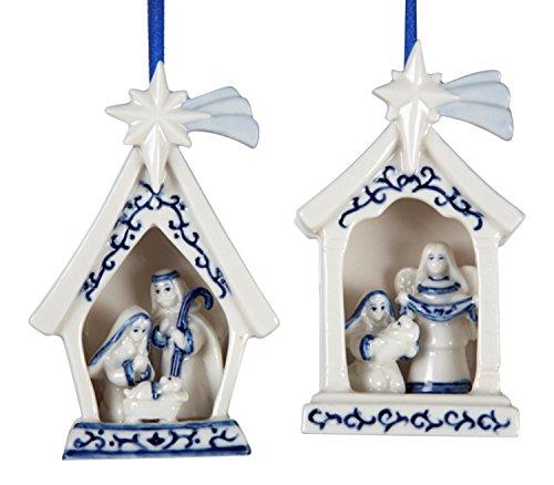 Kurt Adler 4' Porcelain Delft Blue Holy Family Ornament 2/asstd.