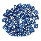 F Fityle 50PCS D6 Round Dice Dungeon and Dragons Juego de DND MTG RPG Game - Azul