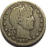 1907 Barber Quarter Quarter Very Good Details